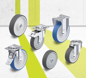 Wheel and caster series with injection-molded polyurethane tread