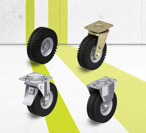 Wheel and caster series with super-elastic solid rubber tires
