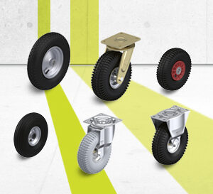 Wheel and castor series with pneumatic tires