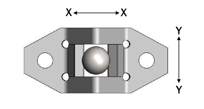 Ball stud and clip connection top view.